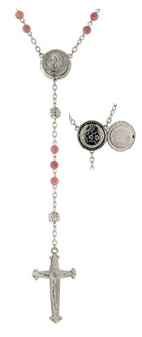 Silver Tone Pink Beaded Rosary with Mary Locket Centerpiece