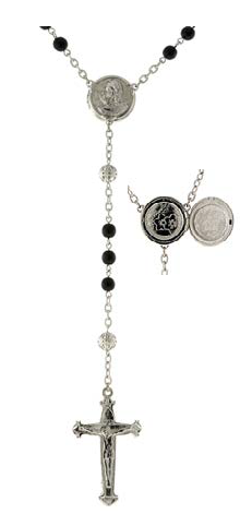 Silver Tone Black Beaded Rosary with Mary Locket Centerpiece