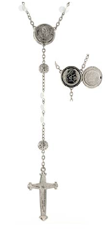 Silver Tone White Beaded Rosary with Mary Locket Centerpiece