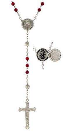 Silver Tone Red Beaded Rosary with Mary Locket Centerpiece