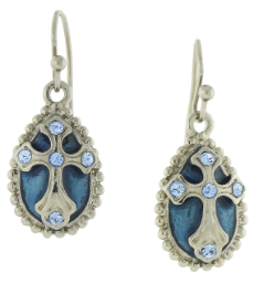 Silver-Tone Light Blue Crystal and Blue Enamel Cross Drop Earrings