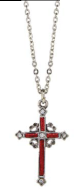 Red Hand Enamel Pewter Cross Necklace