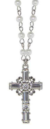 Silver-plated Crystal Cross Necklace