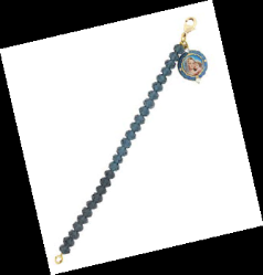 14K Gold Dipped Dark Blue Beaded Bracelet with Mary and Child Charm
