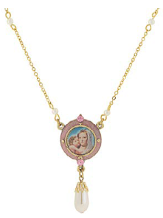 14K Gold Dipped Pink & Simulated Pearl Drop Pendant Mary and Child Necklace