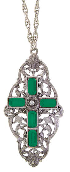Pewter Green Stone Cross Pendant Necklace