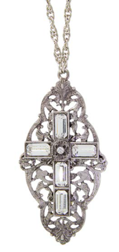Pewter Crystal Stone Cross Pendant Necklace