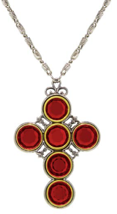 Ruby Crystal Cross Necklace