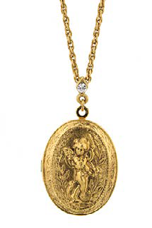 14K Gold Dipped Oval Angel Locket Necklace