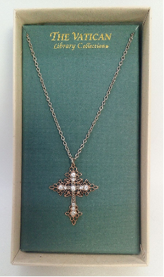 Rose Gold and Crystal Vatican Cross Necklace