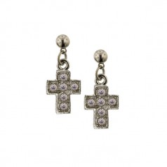Silver-Tone Crystal Cross Earrings