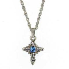 Silver & Sapphire Crystal Cross Necklace