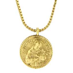 St francis of assisi medallion necklace aloadofball Choice Image