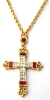Regalia Gold Tone Siam and Diamond Color Large Cross Necklace