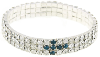 Silver-Tone Montana Blue Crystal Cross Stretch Bracelet