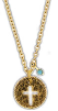 Round Gold Turquoise Bead Cross Necklace