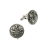 "Silver-Tone ""Light Unto My Path"" Round Cuff Links"