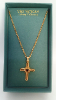 Red Crystal Gold Cross Pendant Necklace