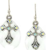 Aurora Borealis Crystal Silver Cross Earrings