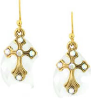 Aurora Borealis Crystal Gold Cross Earrings