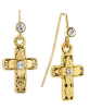 Gold and Crystal Cross Earrings