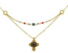 Gold-Crystals Cross Necklace