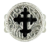 Silver-Black Enamel Cross Stretch Ring