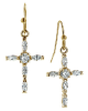 Gold Cubic Zirconia Cross Earrings
