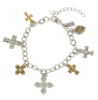 Gold and Silver Seven Cross Charm Bracelet
