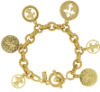 14K Gold-Dipped Toggle Crosses and Fleur di Lis Medallion Charm Bracelet