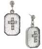 Silver-Tone Frosted Stone Crystal Cross Drop Earrings