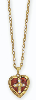 Red Enamel Cross Heart Locket Necklace