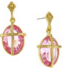 14K Gold-Dipped Light Rose Oval Stone with Gold Cross Earrings