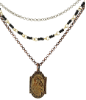 "Mixed Metal Sacred Heart/Our Lady of Mount Carmel Medal Necklace 16"" Adj."