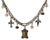 "Mixed Metal St Theresa and Guardian Angel Charm Necklace 16"" Adj."