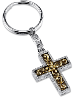 Gold and Silver-Tone Cross Key Fob