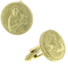 Gold-Tone St. Francis Round Cuff Links