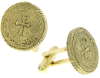 Gold-Tone Cross Round Cuff Links