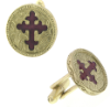 Gold-Tone and Red Enamel Cross Round Cuff Links