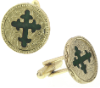 Gold-Tone and Green Enamel Cross Round Cuff Links