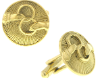 Gold-Tone Interlocking Rings Round Cuff Links