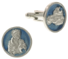 Silver-Tone Blue Enamel Holy Mother and Child Round Cuff Links