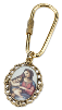 Gold-Tone Enameled Madonna & Child Key Fob