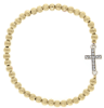 Gold-Tone Crystal Cross Beaded Stretch Bracelet
