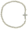 Silver-Tone Crystal Sideways Cross Silver Bead Stretch Bracelet