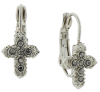 Silver-Tone Hematite Color Petite Cross Leverback Earrings