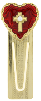 Gold-Tone Red Enamel Heart and Cross Bookmark