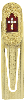 Gold Red Enamel with Crystal Accent Cross Bookmark