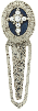 Silver-Tone Crystal Cross Blue Enamel Bookmark