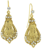 Gold-Tone Crystal Accent Praying Mary Drop Earrings